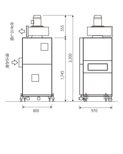azumaの集塵機az03省スペースに設置可能